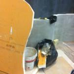 Preparation of the sloped floor in XPSPreparazione del pavimento pendenziato in XPS