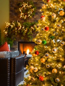 Christmas tree and wreaths with fireplace in living room