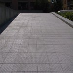 Laying of the fine porcelain tile finishedPosa del gres porcellanato terminata