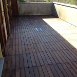 External wooden decking after layingDecking per esterno in legno a posa terminata
