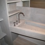Photo shot on Vains and washbasin completely realized in Grigio TunisiParticolare sui vani ed il lavabo completamente realizzati in Grigio Tunisi