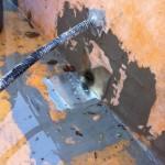 Steel drain and corrugated tube waterproofingImpermeabilizzazione scarico in acciaio e tubo corrugato